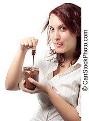 Woman with Chocolate Spread - Greedy Woman Taking Chocolate...
