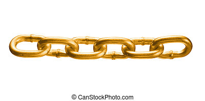 big golden chain isolated on white background