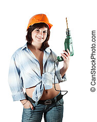 beauty girl with drill - beauty girl with drill over white...