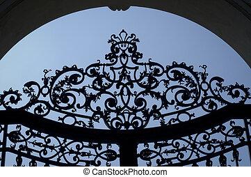 forjado, hierro, puertas, (detail)