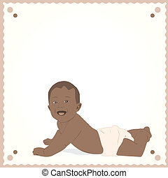 African-American baby postcard. - Vector illustration of...