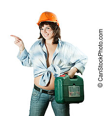 girl in hard hat pointing away - beauty girl in hard hat...