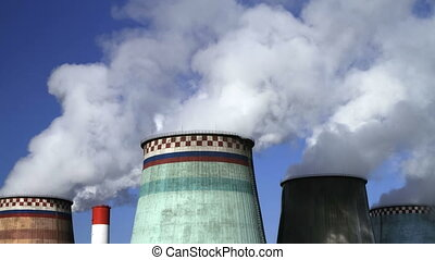 power station, timelapse video. - thermoelectric plant...