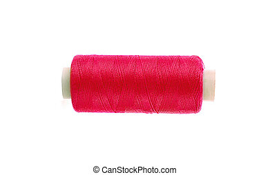 red thread bobbin isolated on white background