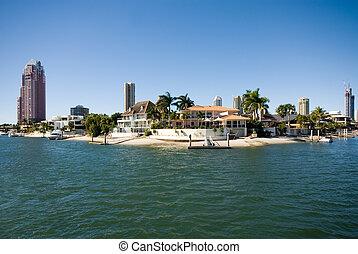 Canal Scene, Surfers Paradise, Queensland, Australia -...