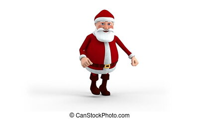 Santa Claus running - Cartoon Santa Claus running on spot -...