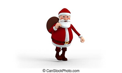 Santa Claus with gift bag running - Cartoon Santa Claus with...