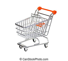 shopping cart isolated - shopping trolley isolated on white...