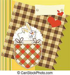 stylish greeting card with rabbit a - color greeting card...