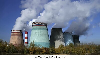 power station - thermoelectric plant against the blue sky