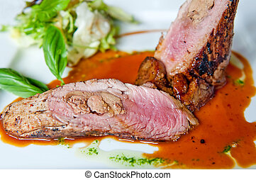 Pork Tenderloin - Detail of pork tenderloin prepared on a...