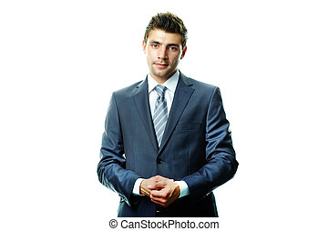 Business style - Portrait of attractive businessman in suit...