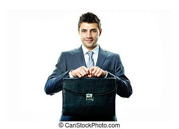 Businessman with briefcase - Portrait of attractive...