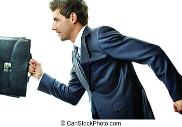 Haste - Portrait of businessman hurrying somewhere