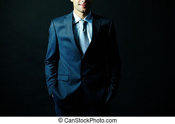 Man in suit - Figure of elegant businessman in suit posing...