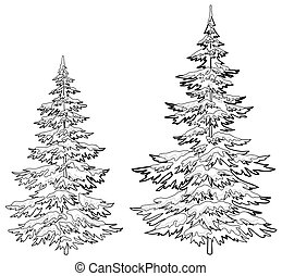 Christmas trees under snow, contours - christmas trees under...