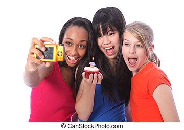 Teenage girls birthday photo with cake and candle - Birthday...
