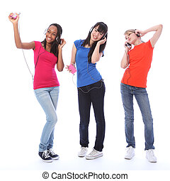 adolescente, bailando, niñas, célula, teléfono, Música,...
