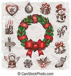 Christmas and New years holidays vector hand drawn...