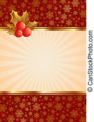 Christmas vector background with holly berries
