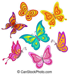 Set butterflies - Set various color butterflies on a white...