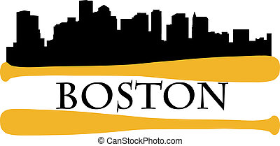 Boston baseball - City of Boston high-rise buildings skyline...