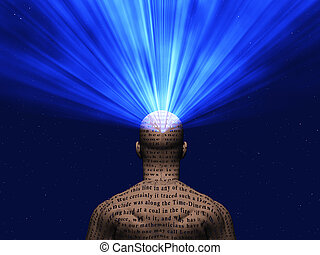 Illustrated Man - Man covered in text with light radiating...