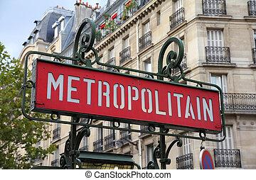 Metro in Paris - Paris, France - retro metro station sign....