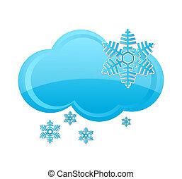 weather snow cloud symbol blue color