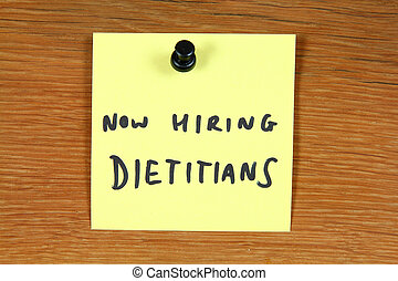 Dietitian job opportunity - Sticky note with employment...