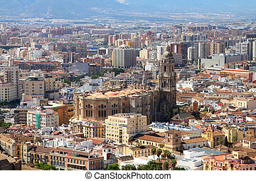 Malaga in Andalusia region of Spain. Aerial view from...