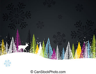 Dark winter forest background - Dark and colorful winter...