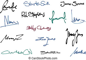 Signatures - Signature set - collection of fictitious...