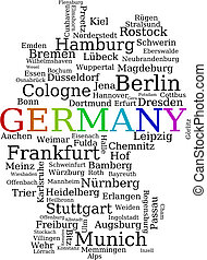 Germany - outline map made of city names German concept