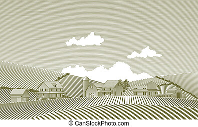 Woodcut Village - Woodcut style illustration of a small...