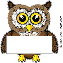 Cute looking owl holding blank sign - Vector illustration of...