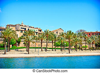 Palma de Mallorca, in Spain - traditional buildings on the...