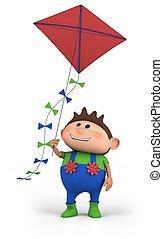 boy flying a kite - cartoon boy flying a kite - high quality...