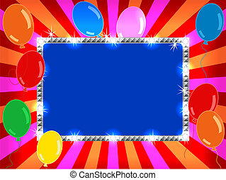 billboard with balloons - Bright and fun sunburst, stripe...