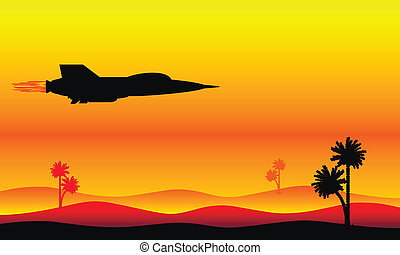 Silhouette of a fighter flying over the desert