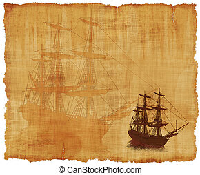 Tall Ship Parchment - An old worn parchment with a tall...