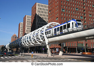 Speed Tram - Newly built speed tram track in The Hague,...