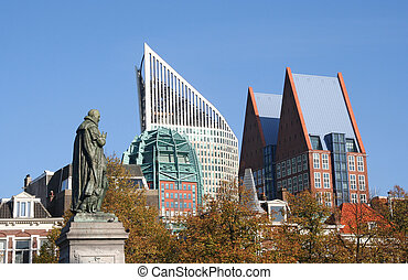 The Hague Skyline - The Hague skyline including statue of...