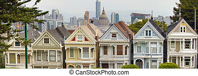 Painted Ladies Row Houses by Alamo Square with San Francisco...