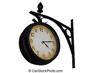 rail station old wall clock isolated on white background