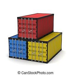 Three cargo container