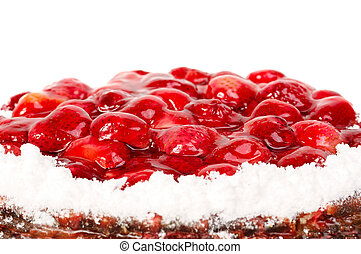 Cake with strawberries on white background