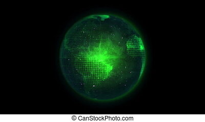 Green Earth turning on itself in the space