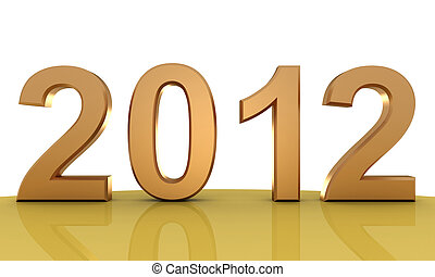 2012 New year - New year 2012, made 3d render