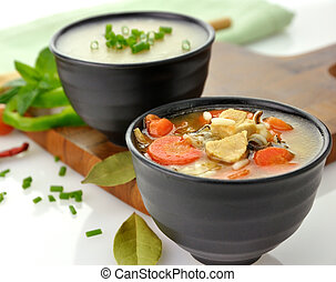 Healthy Soup Bowls - Chicken And Wild Rice Soup And Potato...